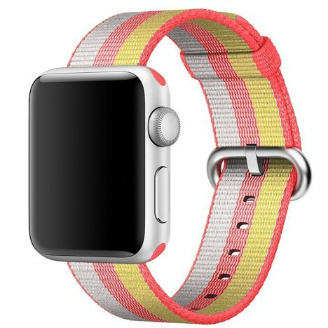Curea iUni compatibila cu Apple Watch 1/2/3/4/5/6, 38mm, Nylon, Woven Strap, Rainbow